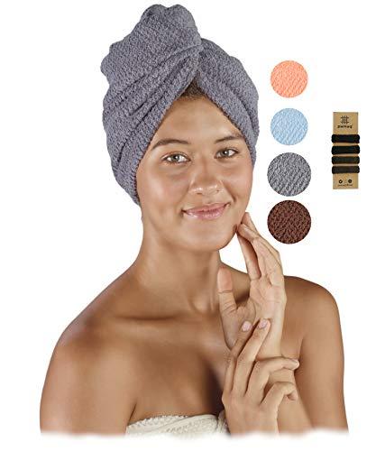 pamuq Turbante de secado rápido, 100 % algodón, juego de 2 unidades, con 2 botones, incluye 4 gomas para el pelo, toalla de secado rápido, toalla turbante, toalla de secado rápido