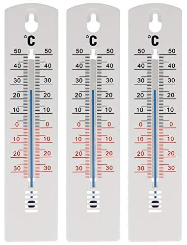 Lantelme 7942 Lot de 3 thermomètres analogiques de 20 cm pour intérieur et extérieur en plastique, Blanc, -34 à +50 °C