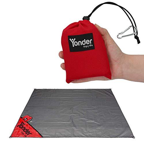 Yonder® Premium Outdoor Picknickdecke | Stranddecke mit einzigartiger Versteck-Tasche | leicht + wasserdicht + waschbar | Decke für 3 Personen