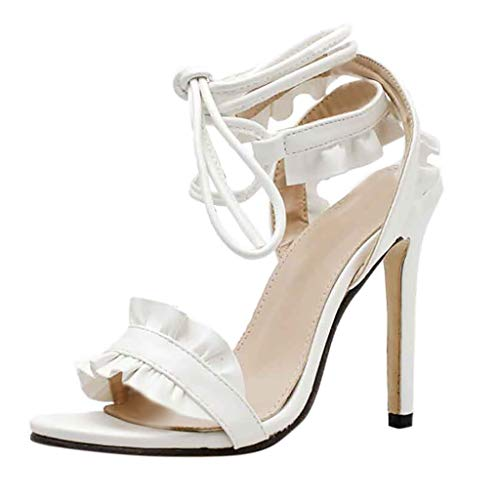 MEIbax Damen Sexy Cross Strap Lace-Up Rüschen Stiletto High Heels Peep Toe Sandalen Riemchensandalen Pumps Sandalen Peep-Toe Stiletto Elegant Schuhe