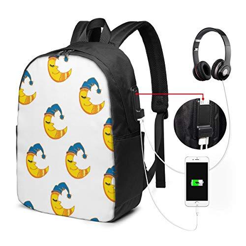 バックパック17インチベルト バックパック ビジネスバックパック ランドセル 登山バッグ 帽子をかぶる月 充電ポート ヘッドフォンポート ラベル 防水 旅行 ユニセックス 大容量 ストレージレジャー