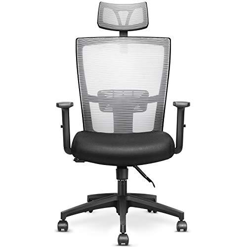 mfavour Ergonomisch Schreibtischstuhl Bürostuhl drehstuhl Computerstuhl mit Netz-Design-Sitzkissen, Verstellbare Wippfunktion, Armlehne, Sitzhöh, Kopfstütze Maximale Belastbarkeit 135 kg grau