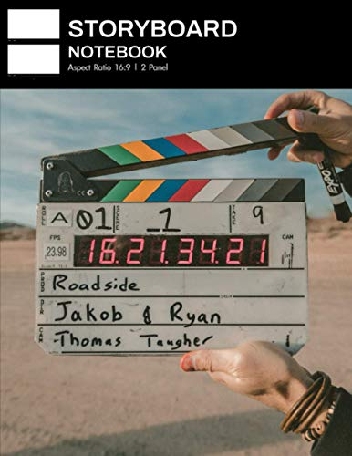 Storyboard Notebook: Spacious 16:9 Storyboards Sketchbook for a Short Film, TV Show, and Animation, 2 Panels per Page, 8.5 x 11, 300 pages