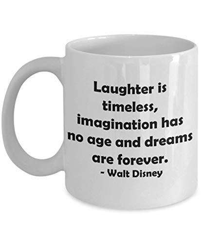 N\A Taza de Regalo novedosa de la Bella y la Bestia de Disney para cónyuge, Novia, Hermana, Taza de cerámica para té y café: 'La Risa es Atemporal, la imaginación no Tiene