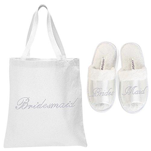 Pantuflas de punta abierta y bolsa para spa para regalo de boda Varsany, color blanco con la frase the bride (idioma español no garantizado)