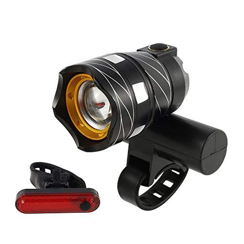 Fahrradlicht Set, T6 LED Fahrradscheinwerfer & Rücklicht, USB Wiederaufladbare Fahrradlampe, 3 Modi Ultra-Bright Frontlicht, IP65 Wasserdicht Beleuchtungsset für Fahrrad (1Frontlicht+1Rücklicht)