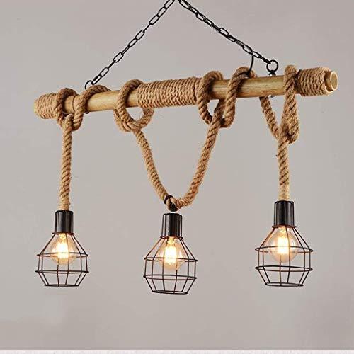 WY-YAN Luces pendientes, estilo americano cuerda del cáñamo retro tienda de ropa de la lámpara, Restaurante Bar Cafe rural de bambú de la lámpara, la personalidad creativa de estar luz de la habitació
