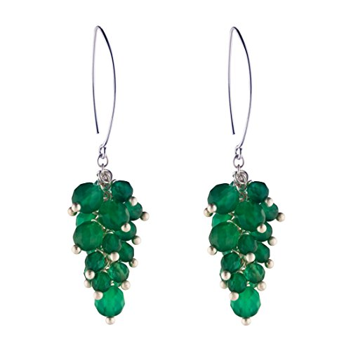 Silverly Women's .925 Sterling Silver Green Onyx Gemstone Grape Cluster Dangle Earrings