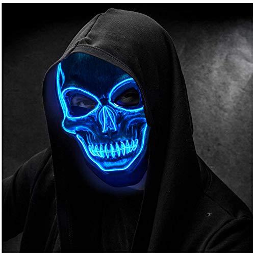 Mascara LED Halloween Terror Craneo Esqueleto Mascaras,Mascara Disfraz Luminosa,para Hombre NiñOs Navidad Halloween Cosplay Grimace Festival Fiesta Show Mascarada
