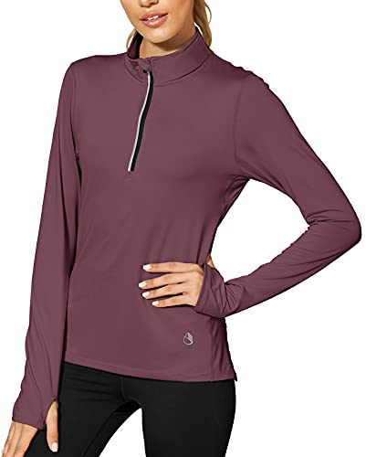 icyzone Damen Sport Langarm T-Shirts Training Fitness Kleidung 1/4 Reißverschluss Laufshirt mit Daumenloch (M, Mauve Orchid)
