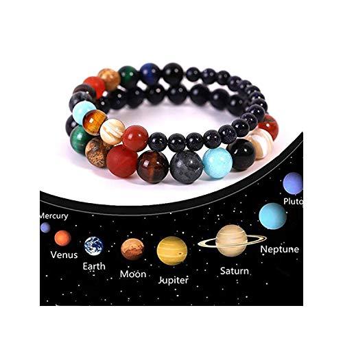 ATIMIGO 2 Pack Solar System Bracelet 7 Chakras Healing Natural Stone Bracelets for Women Men Stress Relief Yoga Beads Elastic Bracelet Bangle