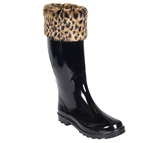 Forever Young Women's Solid Black Rubber Rain Boot with Leopard Print Cuff, 10
