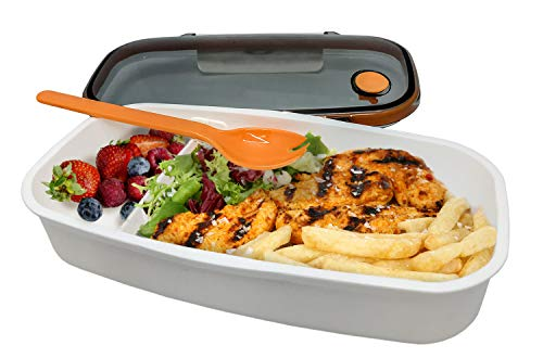 NERTHUS FIH 411 Lunch Box hermético Individual con Cuchara, Blanco/Naranja/Gris, Única