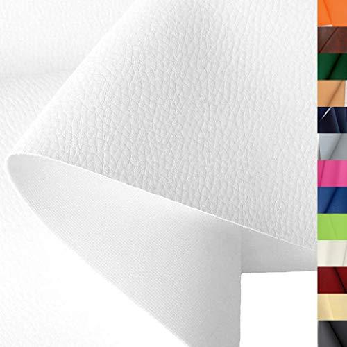 TOLKO Lederimitat mit Rindsleder Optik | weiche PREMIUM Meterware | für Stuhl Bank Sessel Sofa Sitzbezug 140cm breit | Kunstleder Bezugstoff Polsterstoff Polsterbezug Möbelstoff (Weiß)