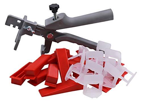 Bauhandel24 – Fliesenverlegehilfe Set 2mm, 201-teiliges Nivelliersystem, Verlegehilfe Fliesenkeile, Zuglaschen, Fliesen Werkzeug