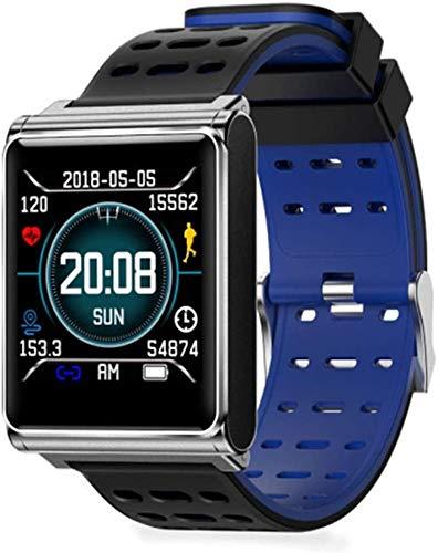 XMZWD Sport-intelligente Uhr N98, wasserdichte Geschäftsuhr des Bluetooth-Herzfrequenz Schritte Schlafes IP68, Für Intelligente Uhr Android-IOS,Blue Black