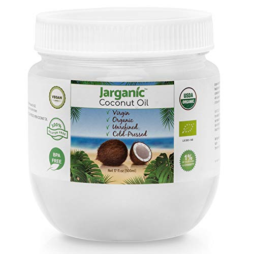 Kokosöl Bio, Kaltgepresst, Nicht-Raffiniertes - Extra Nativ Kokosöl für Haare, Haut und zum Kochen - Gentechnikfrei, Glutenfrei, Natürliches Kokosnussöl Bio 500ml - Jarganic