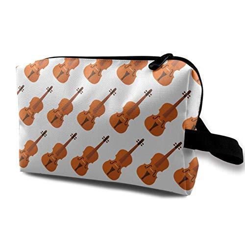 XCNGG Bolsas de maquillaje para mujer Bolsa de cosméticos de viaje portátil multiusos con patrón de violín con cremallera