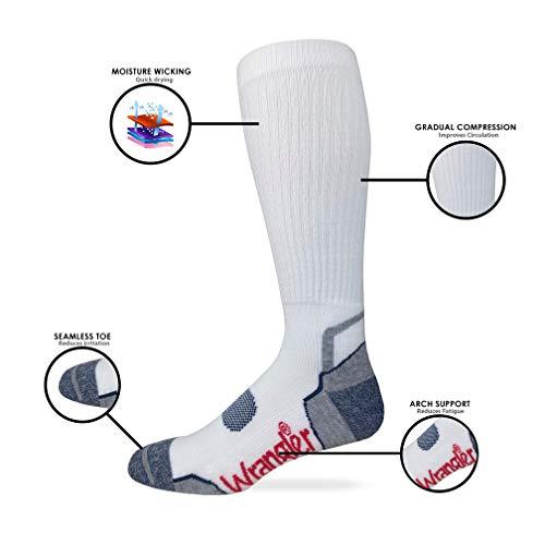 Wrangler Mens Ultra Dri Compression Tall Boot Socks 3 Pair Pack (Black, Men's Shoe Size 9-13 - Sock Size Large)