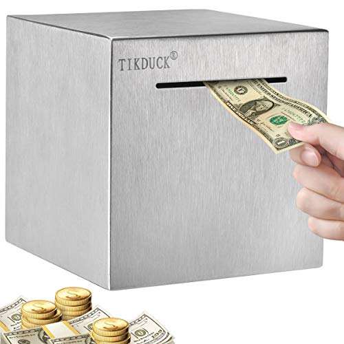 """Tikduck Safe Piggy Bank Made of 1mm Thick Stainless Steel for Adults Kids,Personal Money Coin Only Savings Bank Box, All Sides Closed Cannot be Taken Out(5.9""""X5.9""""X5.9"""")"""