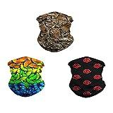 MJ Brand 3 piezas multifuncional Headwea Pasamontañas cara bufanda sin costuras pañuelo 3D polvo sol UV resistente al viento para camping al aire libre