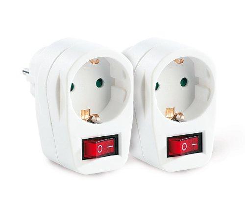 revolt Stromsparstecker: Stromspar-Steckeradapter mit Netzschalter, 2er-Set (schaltbarer Stecker)