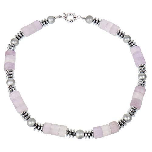 Lassiere Collar de piedras preciosas para mujer con amatista natural, piedras en bruto, lila, 50 cm de largo