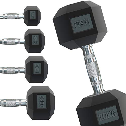 Body Revolution Hex Dumbbells – Rubber Encased Hexagonal Cast Iron Dumbbell Weights – Range of Weight & Size Variations Sold Separately (8kg pair)