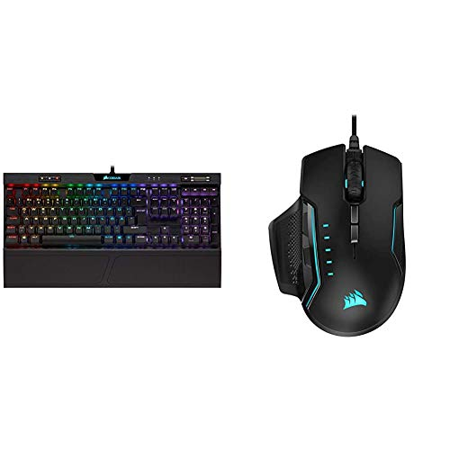 Corsair K70 RGB MK.2 Low Profile Rapidfire Mechanische Gaming Tastatur (QWERTZ DE Layout) schwarz & Glaive PRO RGB Komfortable FPS/MOBA Optisch Gaming Maus (18.000 DPI Optisch Sensor) schwarz
