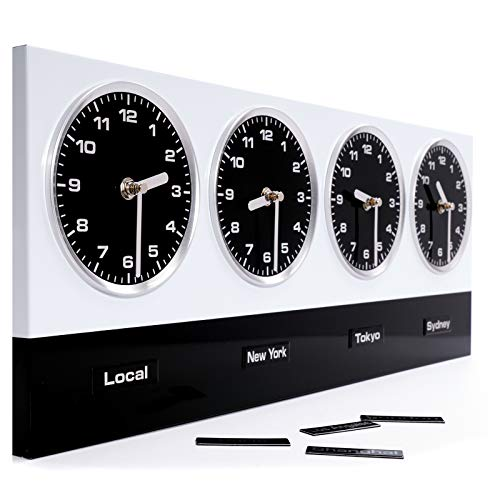 DESIGN DELIGHTS Moderne WANDUHR WELTZEITUHR | Metall, 4 Uhrwerke, Magnete mit 8 Welt Metropolen | Bürouhr zum Aufhängen | Farbe: weiß-schwarz