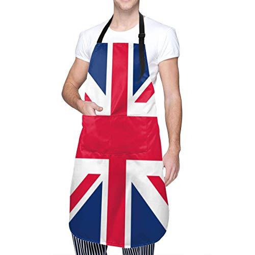 Delantales Ajustables Impermeables Unisex con Bandera del Reino Unido con 2 Bolsillos, para Cocina, elaboración de Barbacoa, Dibujo, Cocina