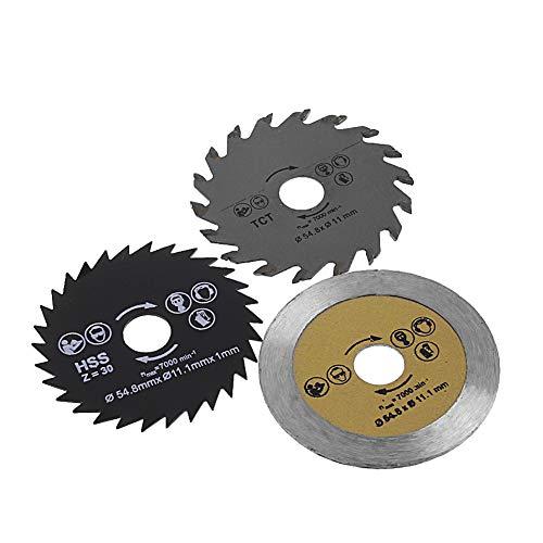 Ontracker 3 hojas de sierra circular de 54,8 mm de diámetro para madera