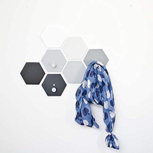 3 hooks + 4 tiles Hexagon wall hooks set - Modern wall hook for bathroom