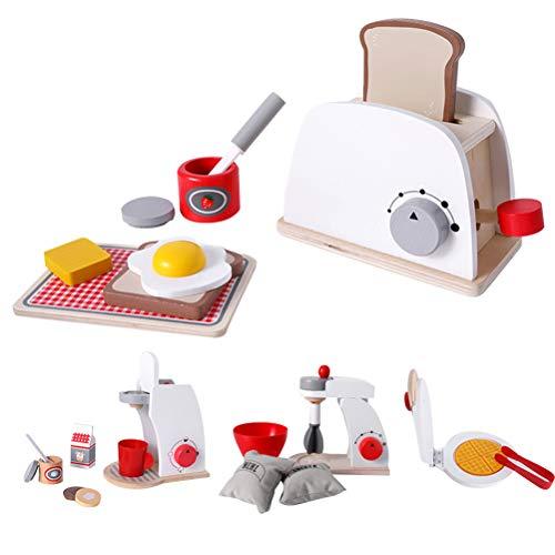 1 Set van 4 stuks Houten Simulatie Servies Speelgoed DIY Fantasiespel Keuken Speelgoed Fantasiespel Rollenspel Speelhuis Speelgoed Wit ( 1Pc Broodbakmachine 1Pc Koffiezetapparaat 1Pc Blender 1Pc Pannenkoekenmaker )