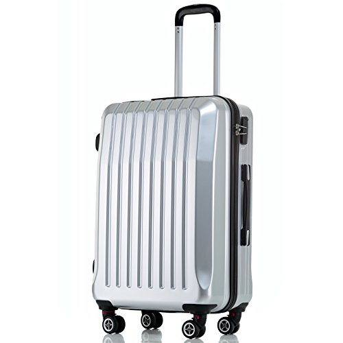 Silver 20' Hard Shell ABS Trolley Case 4 Spinner Wheels Suitcase Travel Luggage