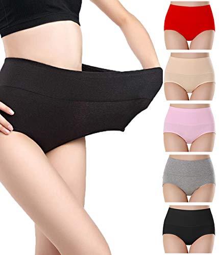 NINGMI Culotte Femme Coton Stretch Slips Taille Haute Ventre Plat sous-vêtements Doux Culotte Gainante Lot de 5-5 Couleur - Taille L