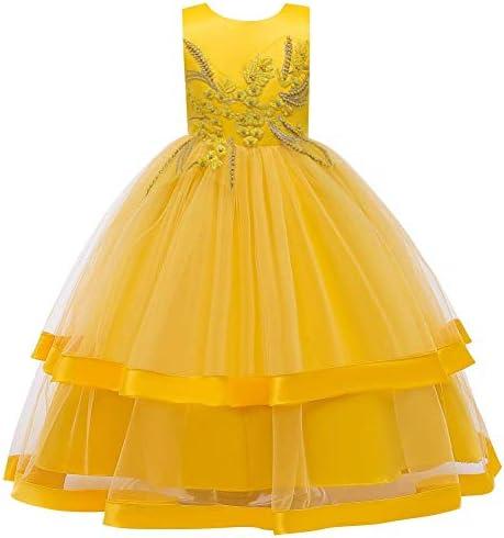 Flower Vintage Embroidered Lace Formal Long Dress for Toddler Girls Kids Tulle Princess Wedding product image