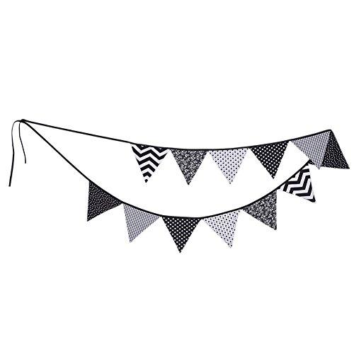 Liteness - Guirnalda de 12 banderines de tela de algodón, color blanco y negro