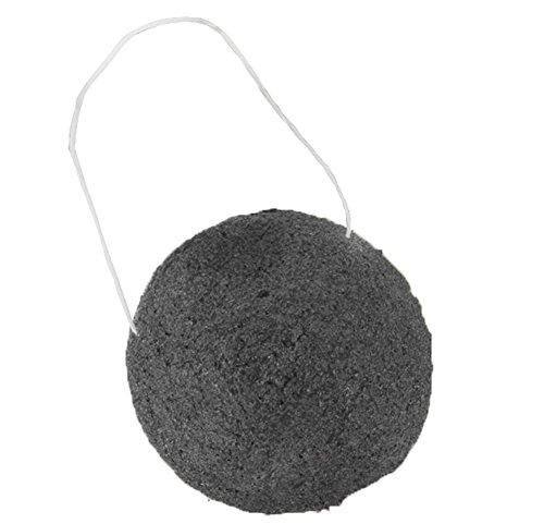 Demarkt Konjac Schwamm Bambuskohle Bester Naturschwamm (Bambuskohle & Konjak-Faser) Ideal für Empfindliche, Fettige, Unreine & zu Akne neigender Haut - Sanftes Peeling, unreine Haut, Schwarz