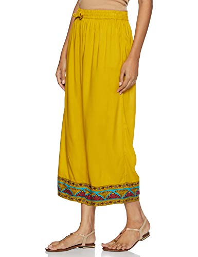 Rangriti Women's Rayon Palazzo Bottom (RMMHIGHWAY 3369_ Yellow_ Large)