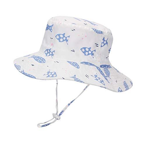 LACOFIA Sombrero de Sol bebé Gorro Verano para niñasSombrero Playa de ala Ancha UPF 50+ Proteccion solarpara niñas con Correa Ajustable para la Barbilla Pesce Bianco 2-3 Anni