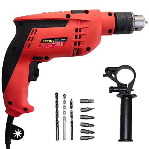 Hammer Drill, 650W Impact Drill, Electric Cored Percussion Drill, Hand Electric Drill with Drill Bits Set, Auxiliary Handle, 13mm Metal Chuck, Variable 6 Speeds 0-3000RPM for Wood, Metal, Concrete.