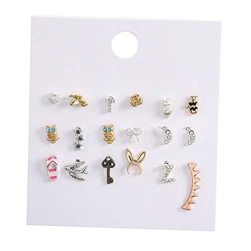 harayaa 6-9 Pares de Pendientes de aleación de Diamantes de imitación sólidos Pendientes de cartílago Piercing de Oreja joyería - 9 Tipo de par 2