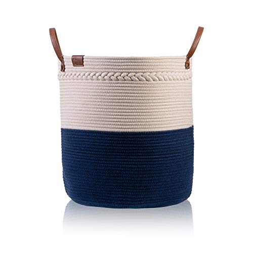 JANA Laundry Basket  18x16 Cotton Rope Basket  Large Storage Basket with Handles  Decorative Woven Basket for Living Room  Storage Baskets for Toys  Throw Pillows and Towels  Cream Blue