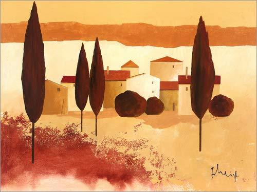 Posterlounge Leinwandbild 130 x 100 cm: Kleines Mediterranes Dorf von Franz Heigl/Advocate Art - fertiges Wandbild, Bild auf Keilrahmen, Fertigbild auf echter Leinwand, Leinwanddruck