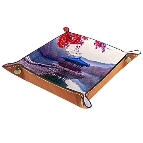 PU Leder Taschenleerer, Tablett Organizer Ablage Aufbewahrungsbox für Schmuck Schlüssel Geldbörsen Uhren Münzen Handys, Kleine & Mittlere Größe Naturlandschaft Pavillon