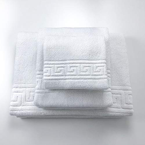 L'ANTICO ARCOLAIO Set Asciugamani 3 Pezzi in Spugna Bianco Tris Bagno Viso Ospite Telo Doccia Puro Cotone 100% Spugna 450 gr/mq