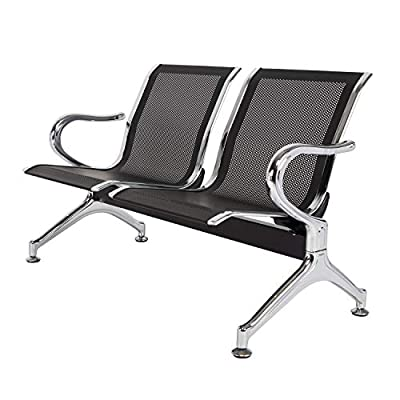 Kinsutie Waiting Room Chair with Arms 3-Seat Airport Reception Bench for Business Hospital Market