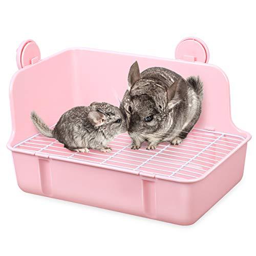 POPETPOP Kaninchen Toilette - Ecktoilette Kleintier Katzentoilette Toilette kleines Haustier Katzenklo Töpfchen mit Gitte für Kleintiere/Kaninchen/Meerschwein/Galasaur/Frettchen