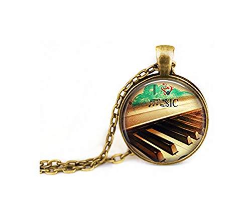 Elf House Muzikant ketting, kunst ketting, muziek noot ketting, piano ketting, Dome glas sieraden, pure handgemaakte